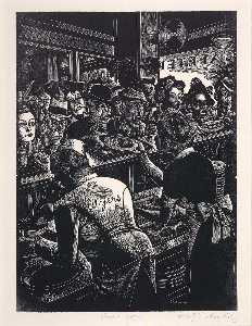 Fritz Eichenberg - Rush Hour (Myers Cafeteria)