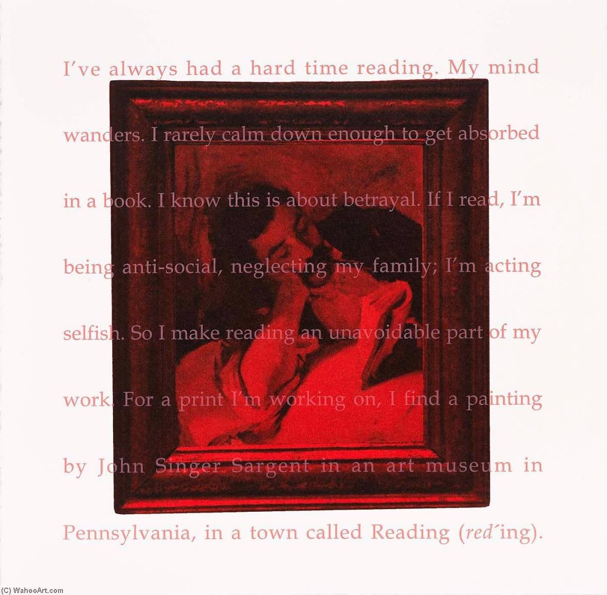 Buy Museum Art Reproductions | I`ve Always Had a Hard Time Reading, from the portfolio Red Read, 1998 by Ken Aptekar | ArtsDot.com
