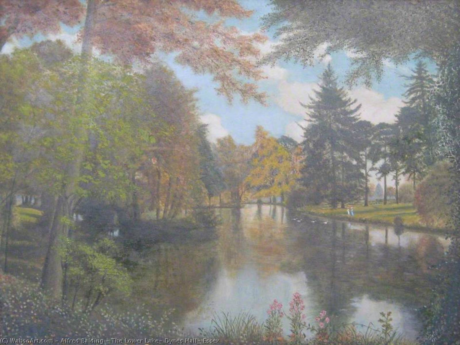 The Lower Lake, Dynes Hall, Essex, 1913 by Alfred Balding | Museum Quality Reproductions | ArtsDot.com
