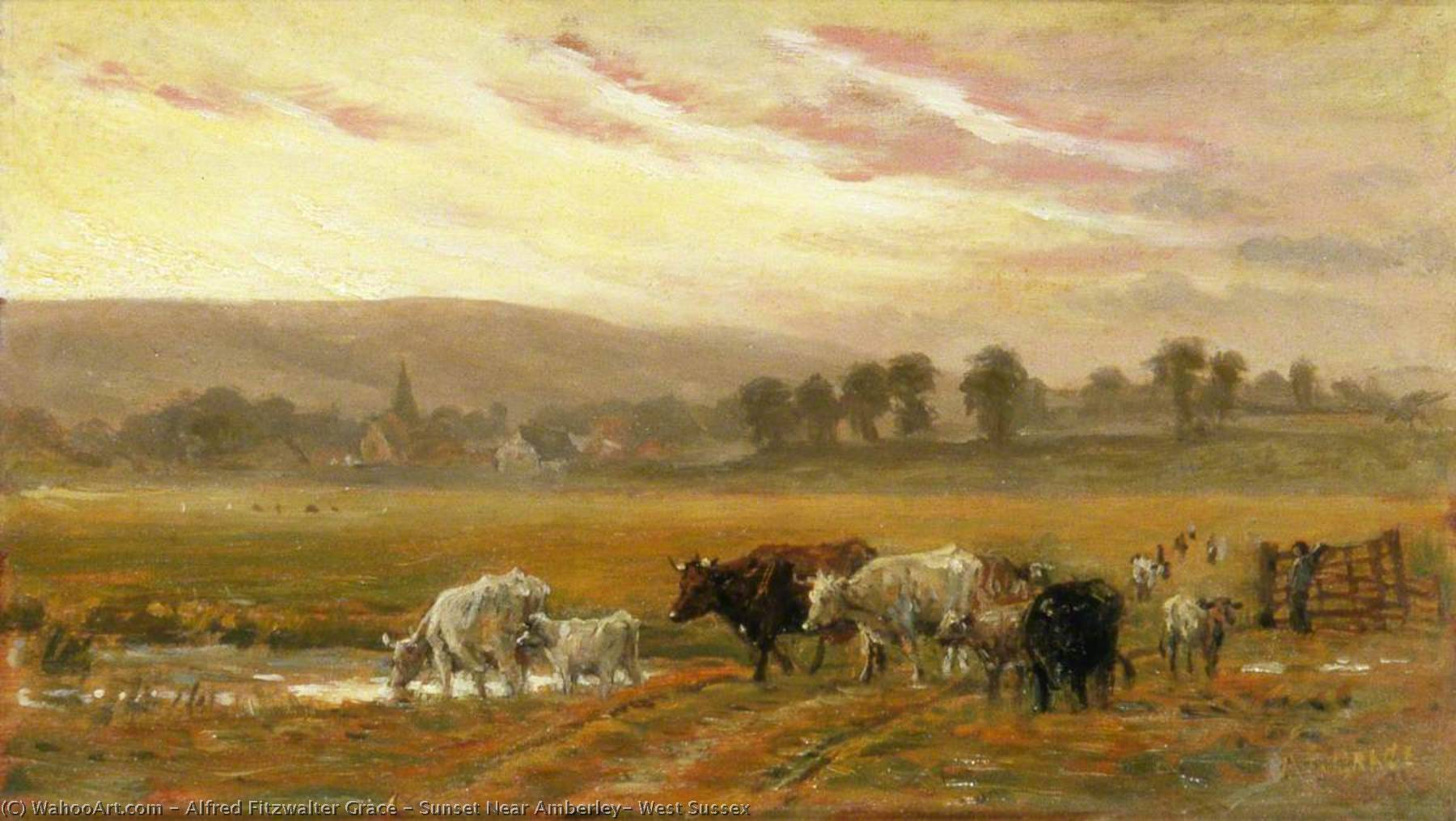Sunset Near Amberley, West Sussex by Alfred Fitzwalter Grace | Museum Quality Reproductions | ArtsDot.com
