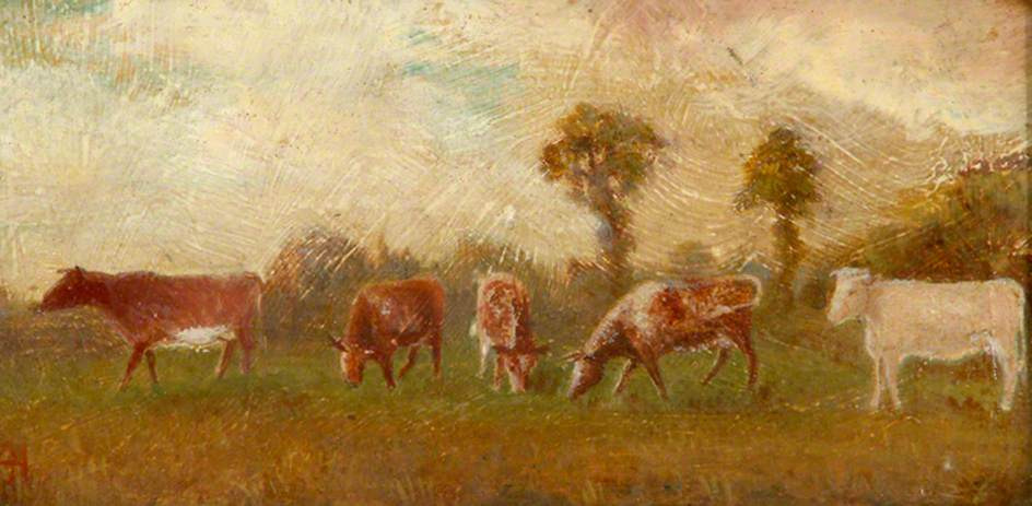 Cows Grazing, 1900 by Alfred John Harris | Paintings Reproductions Alfred John Harris | ArtsDot.com