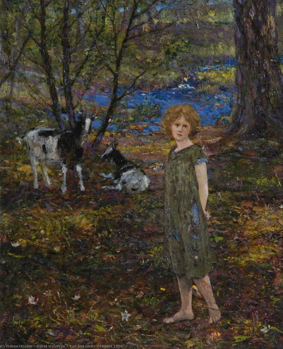Buy Museum Art Reproductions : Girl and Goats, August 1900, 1900 by David Waterson | ArtsDot.com