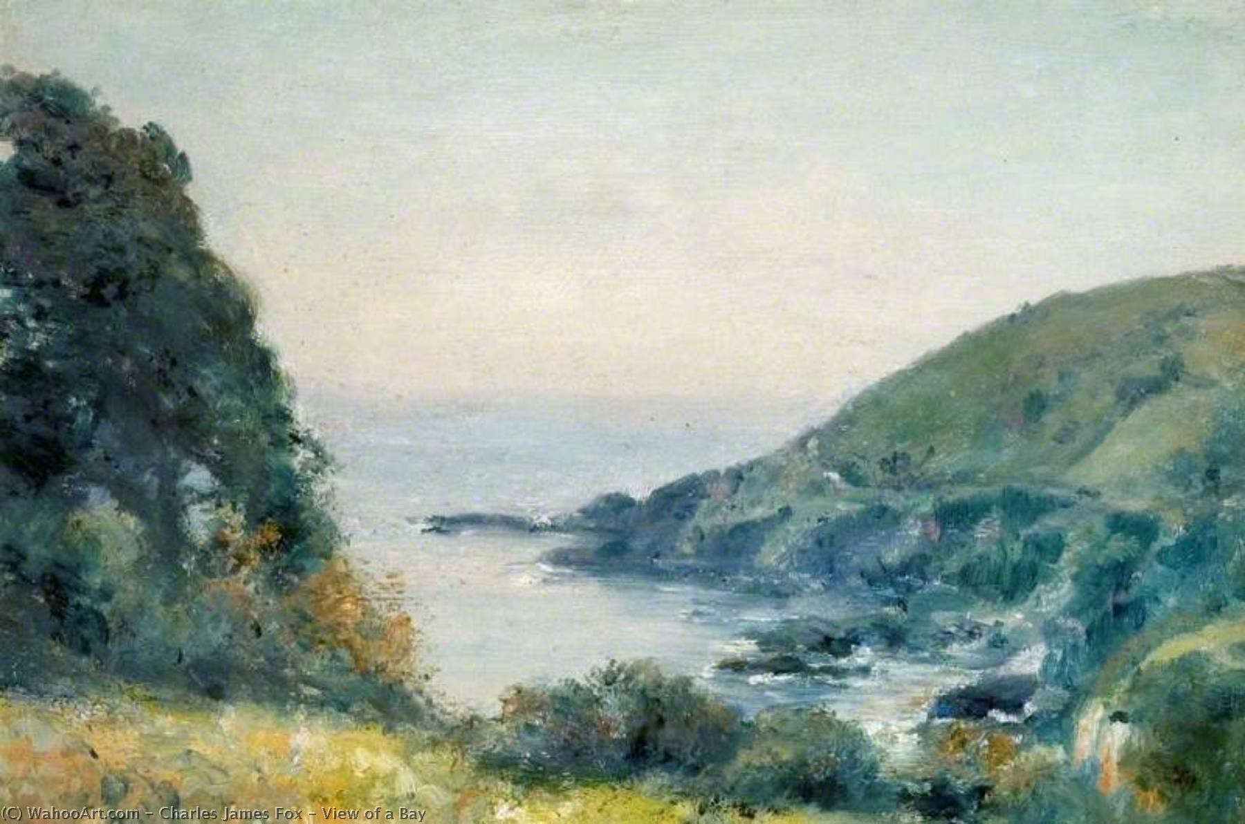 Order Paintings Reproductions | View of a Bay by Charles James Fox | ArtsDot.com