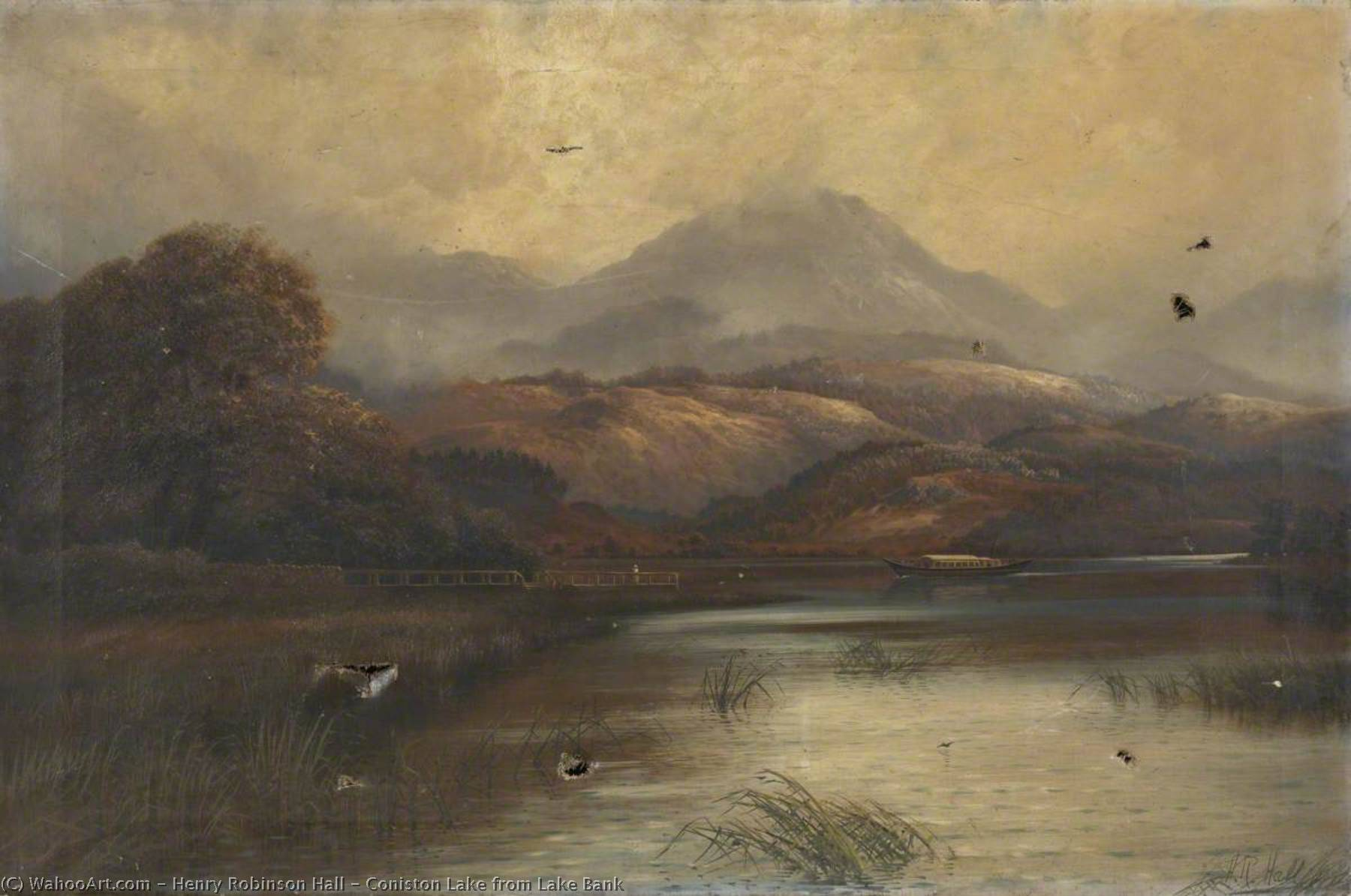 Coniston Lake from Lake Bank, 1900 by Henry Robinson Hall | Paintings Reproductions Henry Robinson Hall | ArtsDot.com