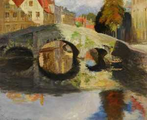Louise Pickard - A Bridge at Bruges, Belgi..