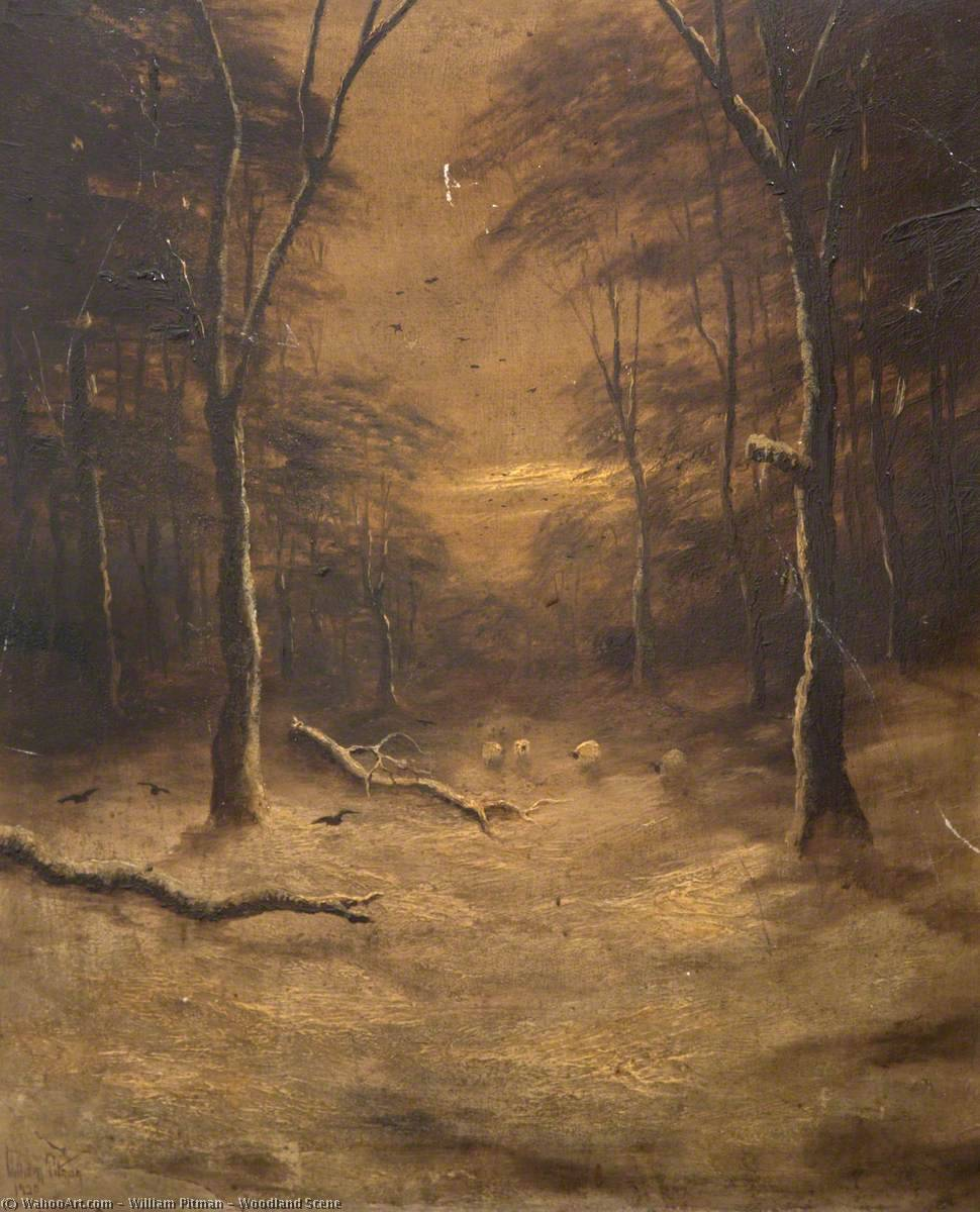 Order Paintings Reproductions | Woodland Scene by William Pitman | ArtsDot.com