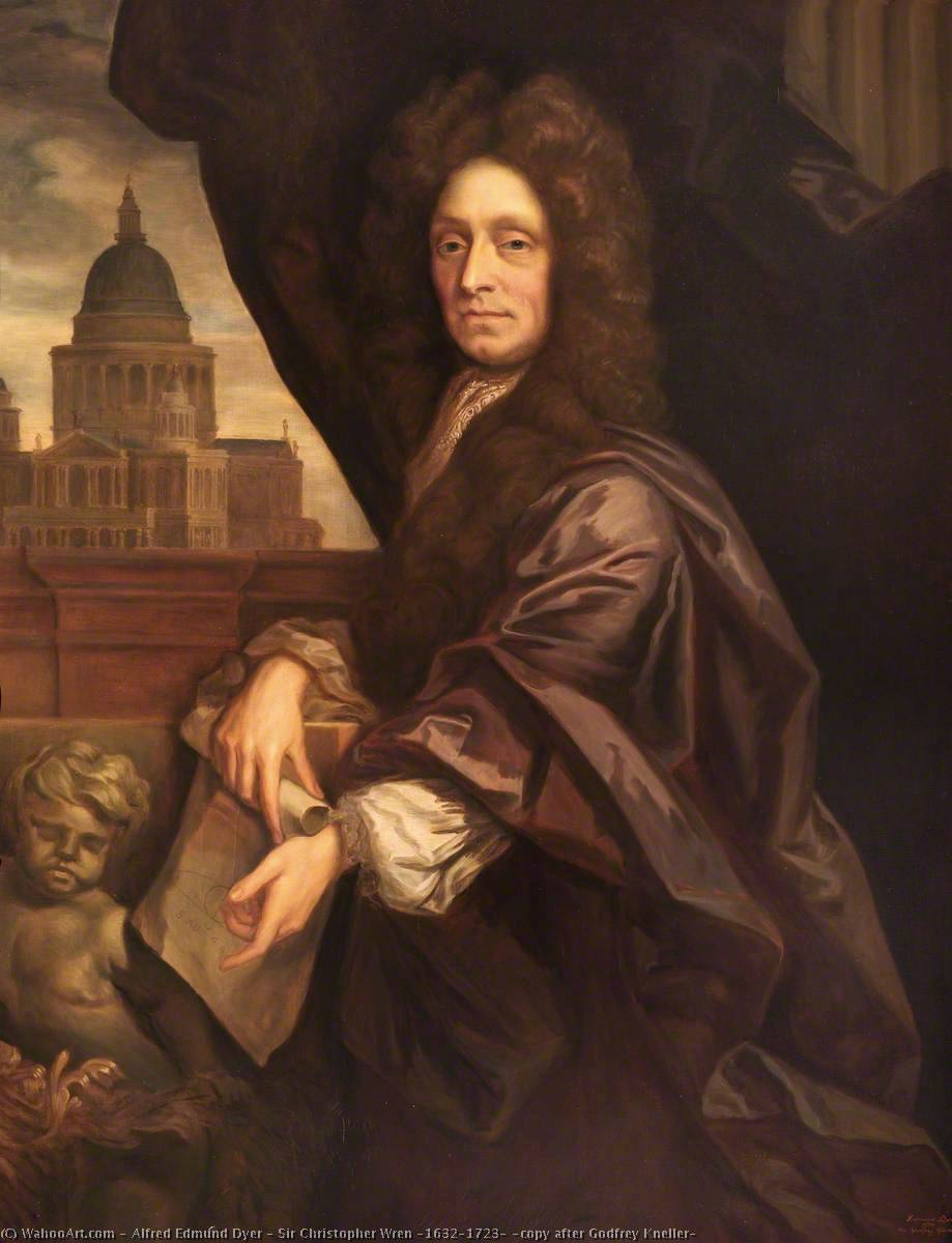 Sir Christopher Wren (1632–1723) (copy after Godfrey Kneller) by Alfred Edmund Dyer | Paintings Reproductions Alfred Edmund Dyer | ArtsDot.com