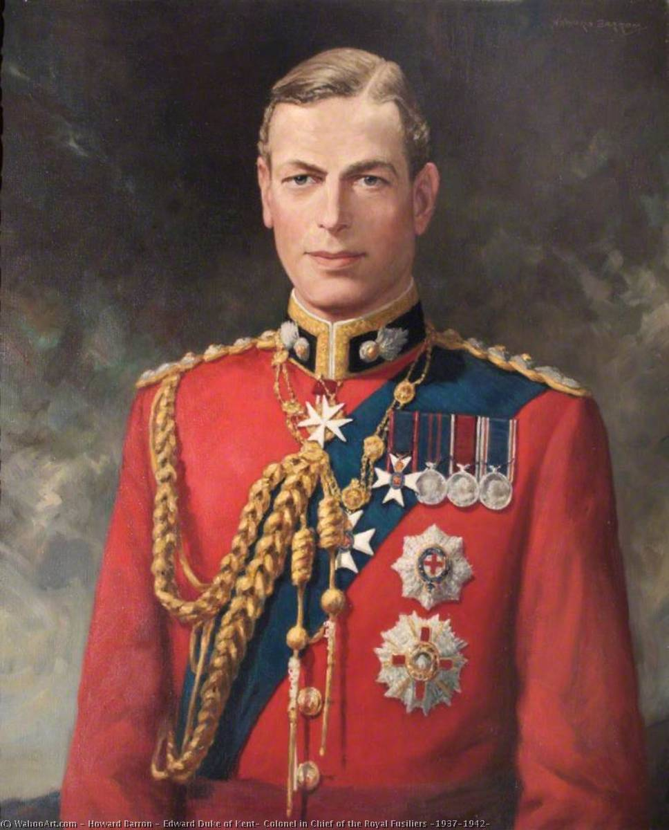 Order Paintings Reproductions | Edward Duke of Kent, Colonel in Chief of the Royal Fusiliers (1937–1942) by Howard Barron | ArtsDot.com