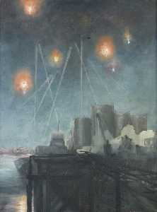 Wilfred Stanley Haines - Night Air Raid with Anti Aircraft Shells Exploding over Oil Tanks