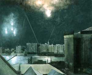 Wilfred Stanley Haines - Night Raid over London Docklands