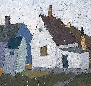 George Bergen - Painting of a Group of Buildings