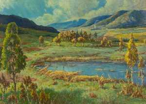 Joseph Calder Smith - Landscape, Loch and Trees