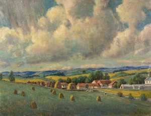 Joseph Calder Smith - Farmhouses in a Landscape