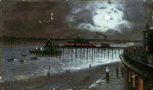 Walter Linsley Meegan - Moonlit Pier, New Brighton, Wirral