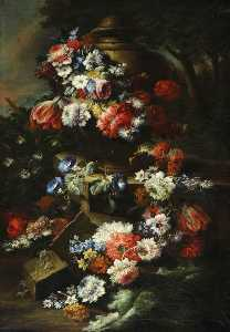 Gasparo Lopez - A Garland of Flowers Drap..