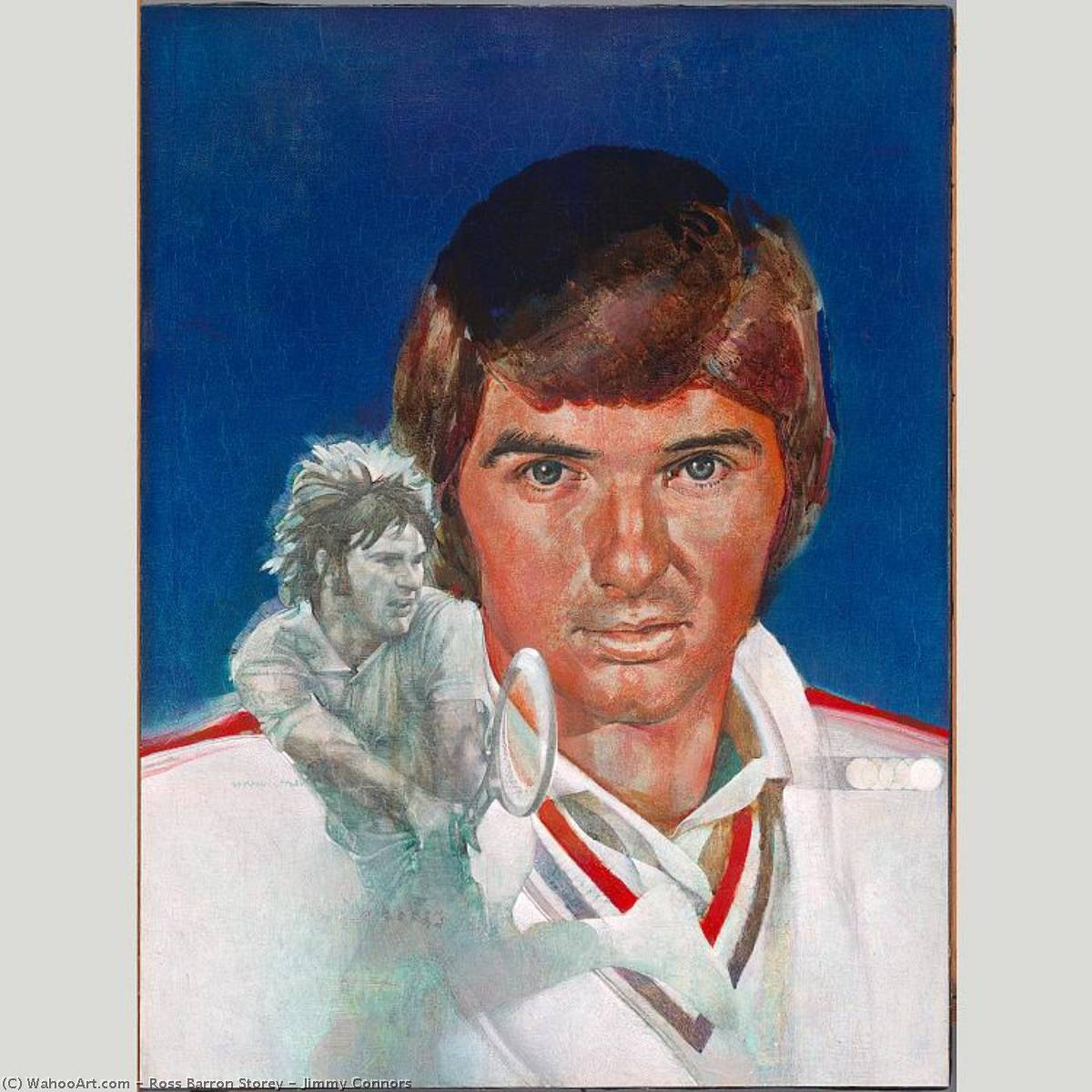 Jimmy Connors, 1975 by Ross Barron Storey | Painting Copy | ArtsDot.com