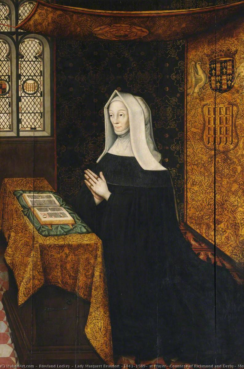 Lady Margaret Beaufort (1443–1509) at Prayer, Countess of Richmond and Derby, Mother of King Henry VII and Foundress of the College by Rowland Lockey | Museum Art Reproductions Rowland Lockey | ArtsDot.com