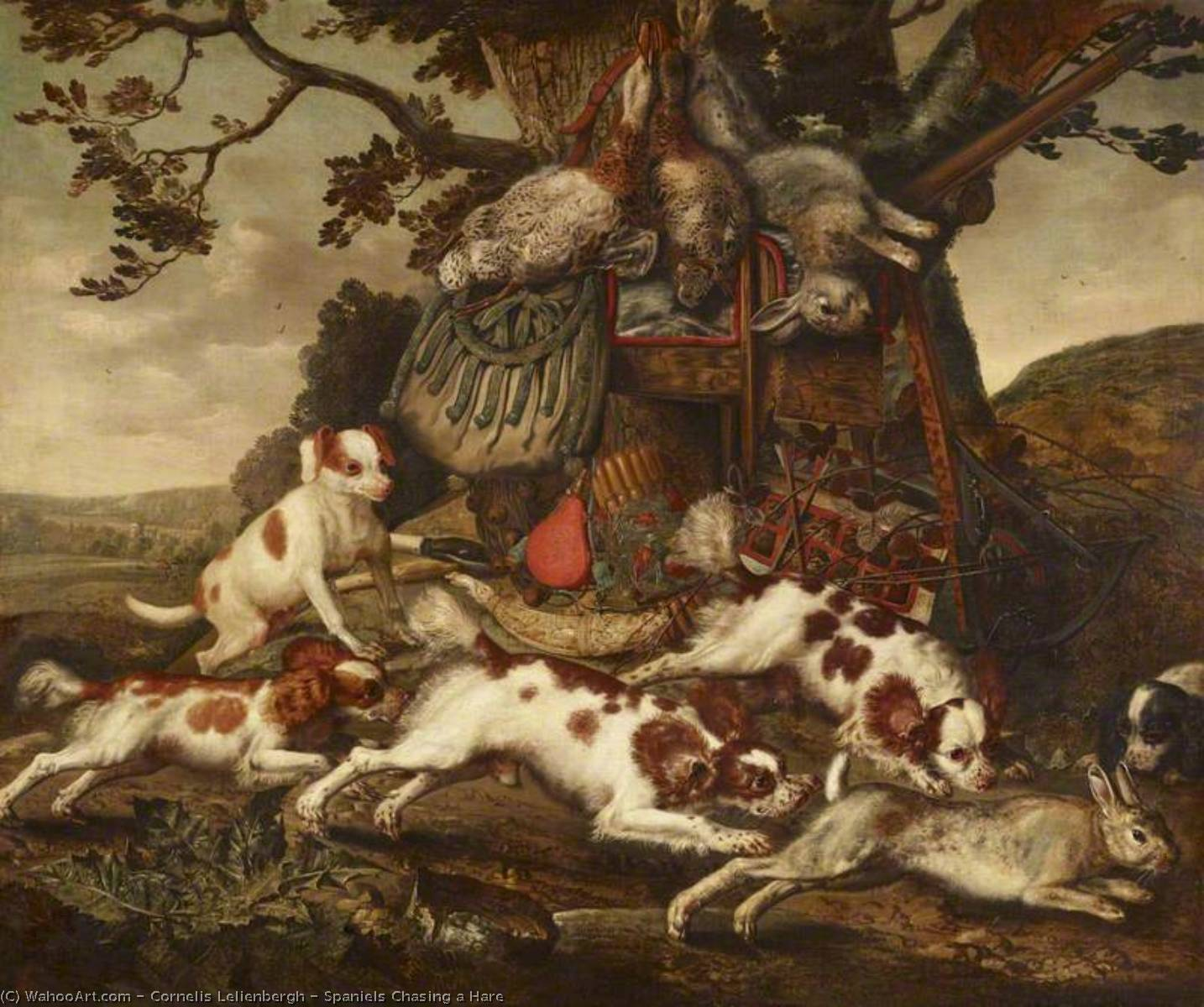 Spaniels Chasing a Hare by Cornelis Van Lelienbergh (1626-1676, Netherlands) | Museum Art Reproductions | ArtsDot.com