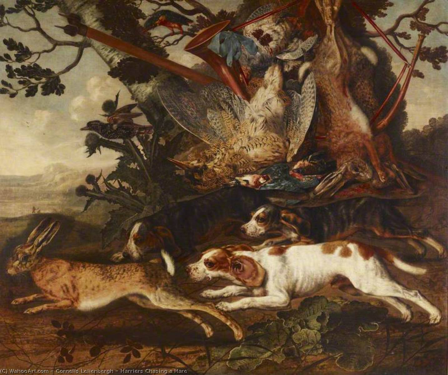 Harriers Chasing a Hare by Cornelis Van Lelienbergh (1626-1676, Netherlands) | Painting Copy | ArtsDot.com