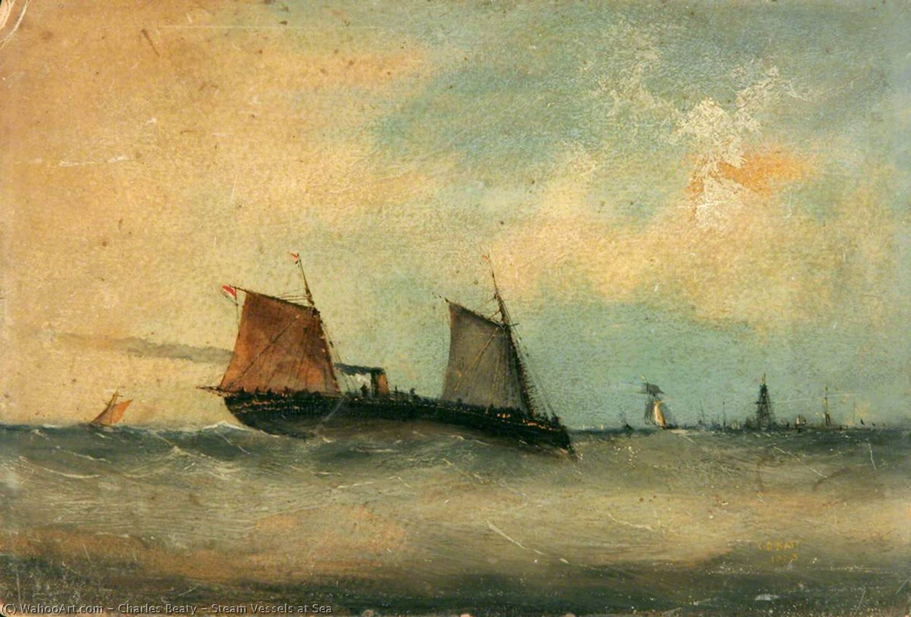 Steam Vessels at Sea, 1883 by Charles Beaty | Reproductions Charles Beaty | ArtsDot.com