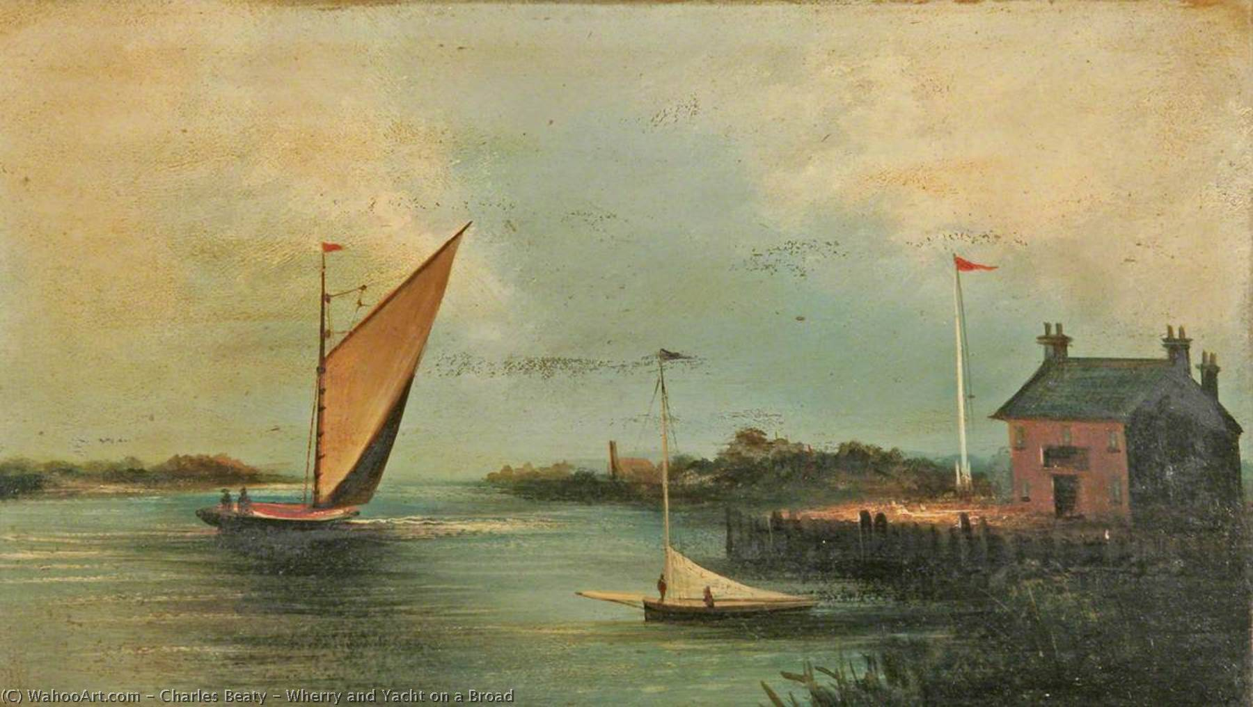 Order Paintings Reproductions | Wherry and Yacht on a Broad by Charles Beaty | ArtsDot.com