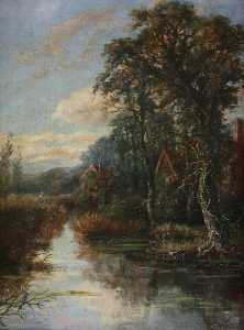 William Rodway Barnes - Moated Mill and Manor Hou..