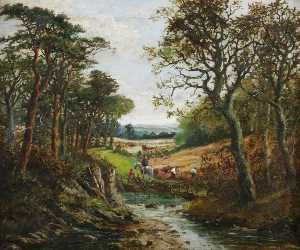 William Rodway Barnes - Harvesting in Worcestersh..