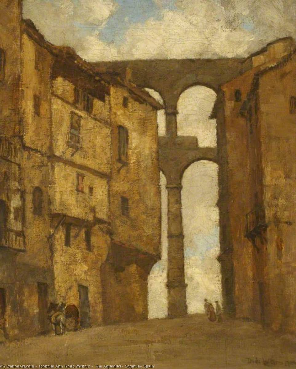 Buy Museum Art Reproductions | The Aqueduct, Segovia, Spain, 1924 by Isobelle Ann Dods Withers (1876-1939, Scotland) | ArtsDot.com