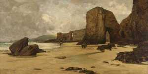 Giffard Hocart Lenfestey - Beach View with Figures, Cornwall