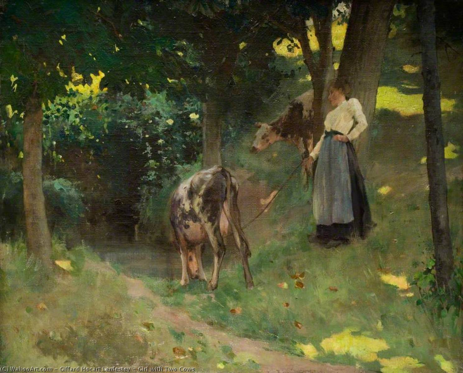 Girl with Two Cows by Giffard Hocart Lenfestey | Museum Art Reproductions Giffard Hocart Lenfestey | ArtsDot.com