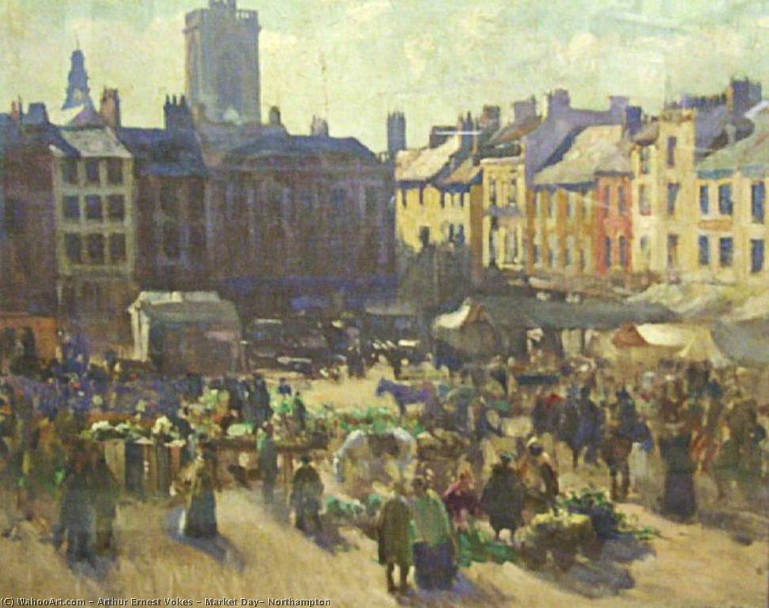 Buy Museum Art Reproductions | Market Day, Northampton by Arthur Ernest Vokes | ArtsDot.com