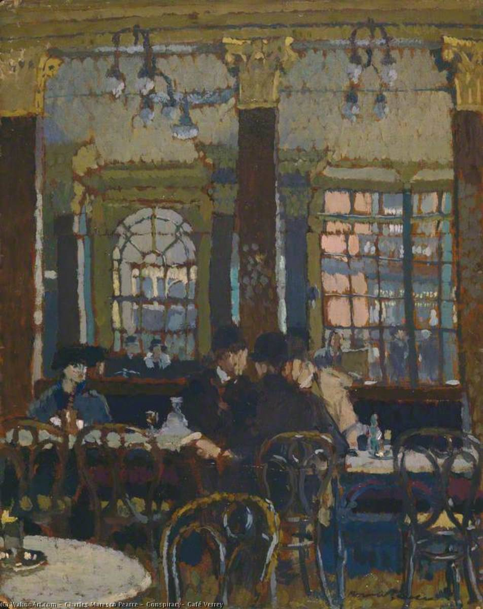 Order Paintings Reproductions | Conspiracy, Café Verrey, 1920 by Charles Maresco Pearce | ArtsDot.com