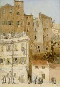 Charles Maresco Pearce - A Street in Menton, France
