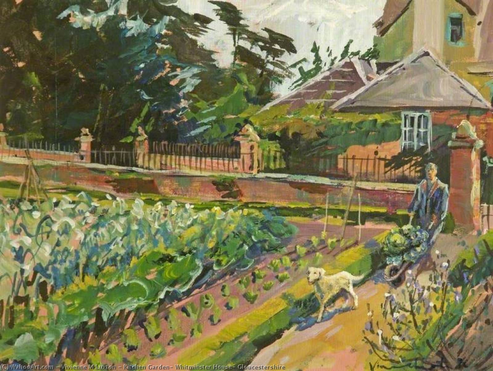 Kitchen Garden, Whitminster House, Gloucestershire, 1991 by Vivienne M Luxton | Oil Painting | ArtsDot.com