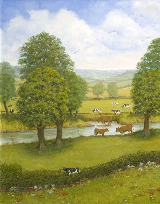 Order Paintings Reproductions | Dorset Landscape with a River and Cows by Alfred William Watkin | ArtsDot.com