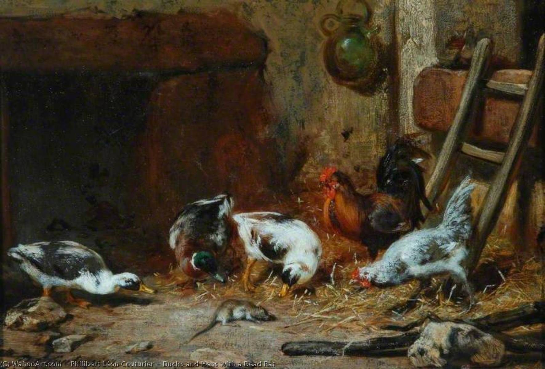 Order Museum Quality Copies | Ducks and Hens with a Dead Rat by Philibert Léon Couturier (1823-1901) | ArtsDot.com