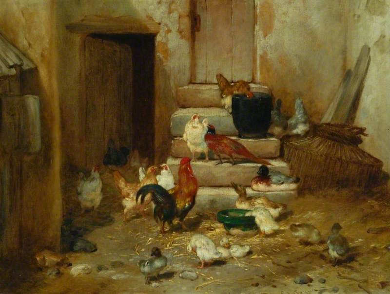 Order Paintings Reproductions | A Yard with Poultry and a Cock Pheasant by Philibert Léon Couturier (1823-1901) | ArtsDot.com