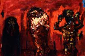 Abraham Rattner - Homage á Goya No. 2 (Composition in Red with Three Figures)