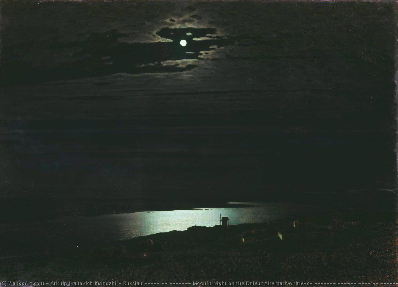Russian «Ночь на Днепре» Moonlit Night on the Dniepr Alternative title(s) Русский Лунная ночь на Днепре, 1882 by Arkhip Ivanovich Kuinji (1842-1910, Russia) | Museum Quality Copies Arkhip Ivanovich Kuinji | ArtsDot.com