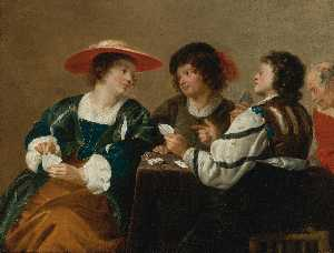 Theodor Rombouts - A woman and three men seated around a table playing cards