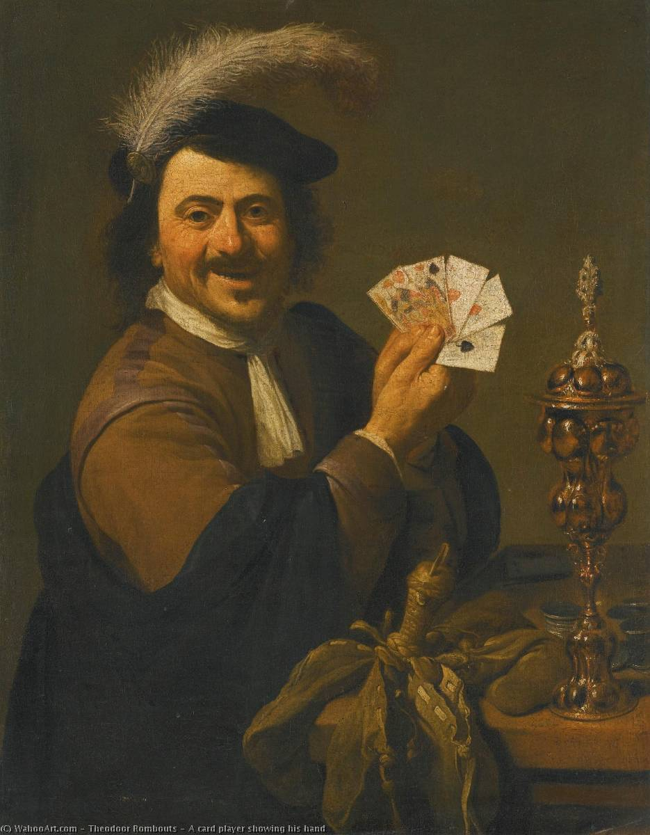 A card player showing his hand by Theodor Rombouts (1597-1637, Belgium) | Paintings Reproductions Theodor Rombouts | ArtsDot.com