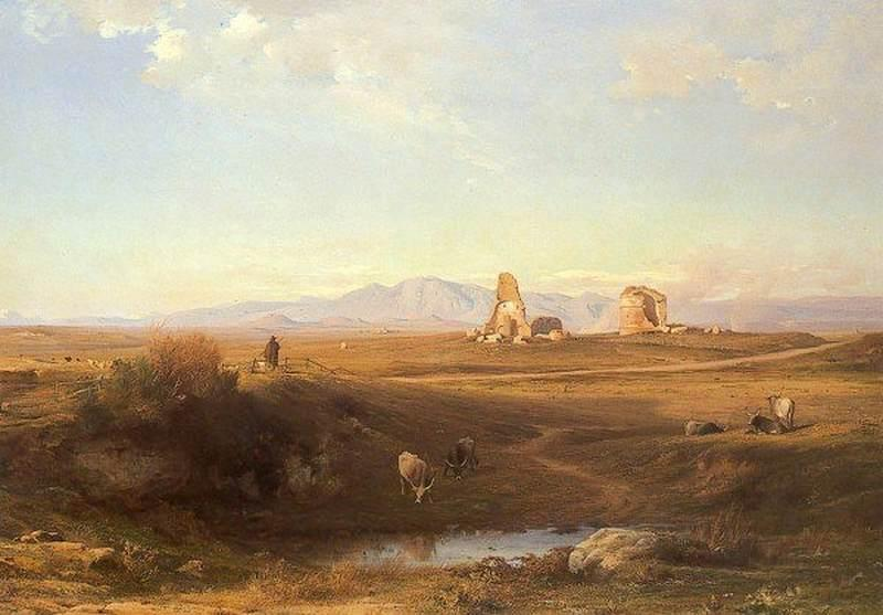 The Campagna at Lungezza near Rome, 1848 by Jean-Achille Benouville (1815-1891) | Paintings Reproductions Jean-Achille Benouville | ArtsDot.com