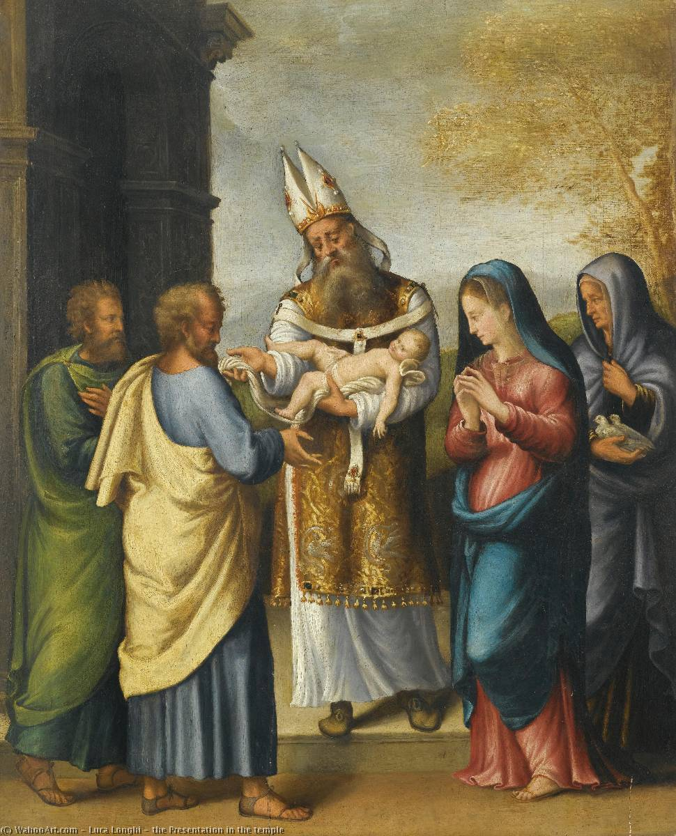 the Presentation in the temple by Luca Longhi (1507-1580) | Paintings Reproductions Luca Longhi | ArtsDot.com