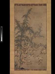 Sesson Shūkei - 竹林七聖図 Seven Sages of the Bamboo Grove