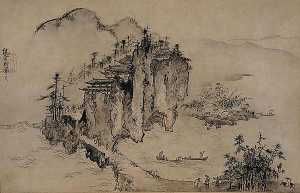 Sesson Shūkei - Landscape with Rocky Precipice