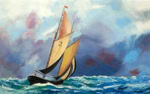 William Turnbull - Yacht in a Choppy Sea