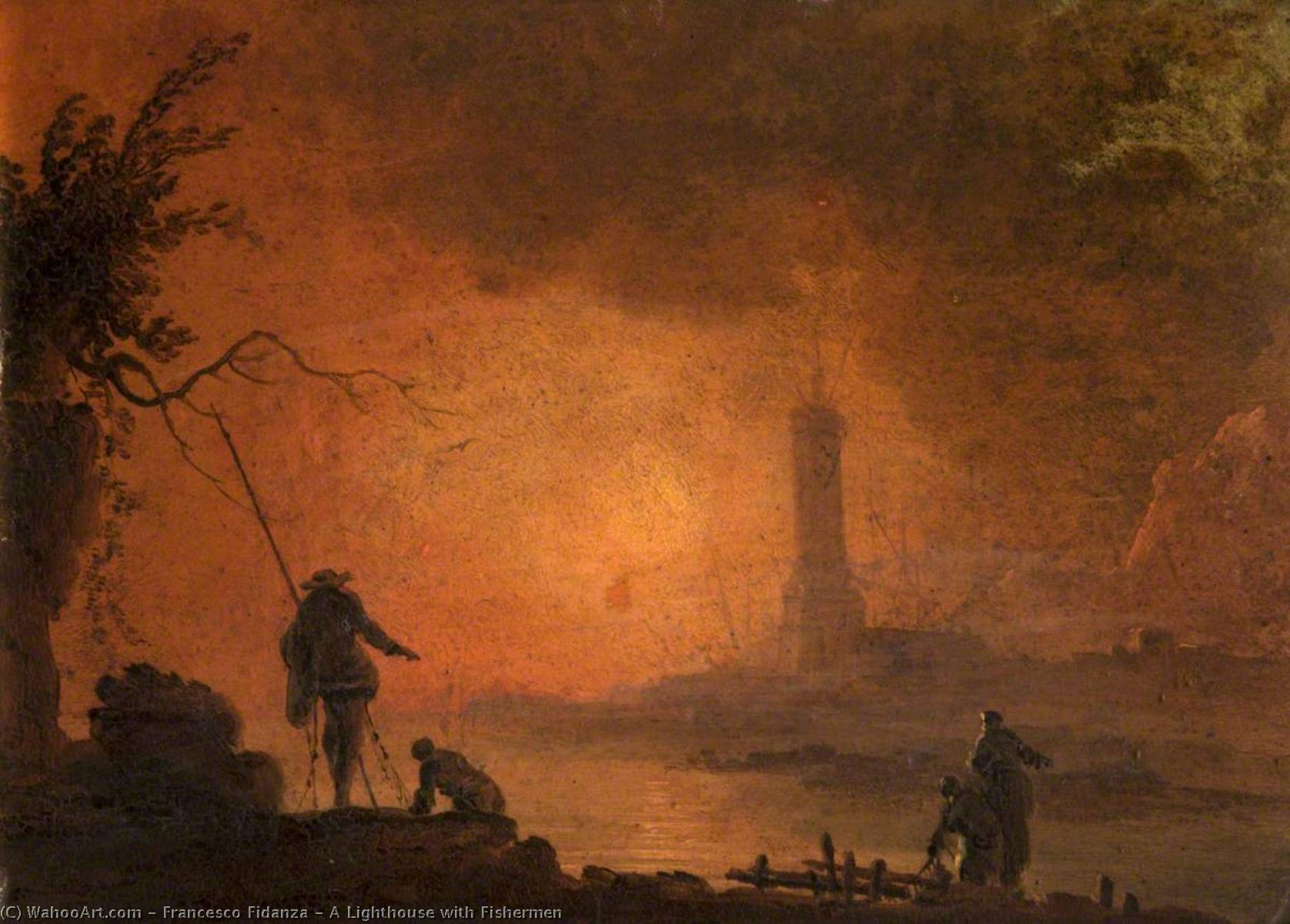 A Lighthouse with Fishermen by Francesco Fidanza |  | ArtsDot.com
