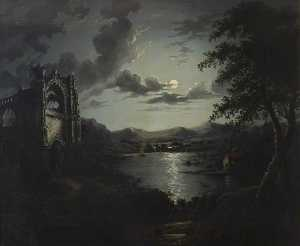 William Pether - Moonlit Lake, with a Ruin..