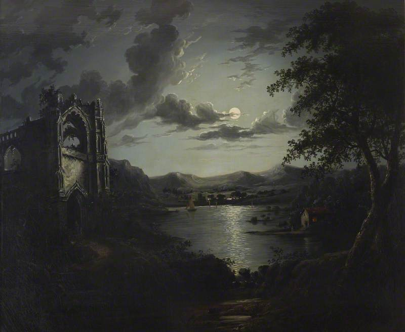 Order Art Reproduction : Moonlit Lake, with a Ruined Abbey and a Cottage with an Illuminated Window by William Pether (1738-1821) | ArtsDot.com