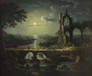 William Pether - Moonlit River Scene with ..